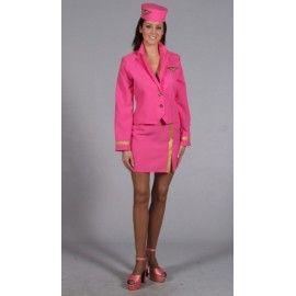 Déguisement hôtesse de l'air rose femme