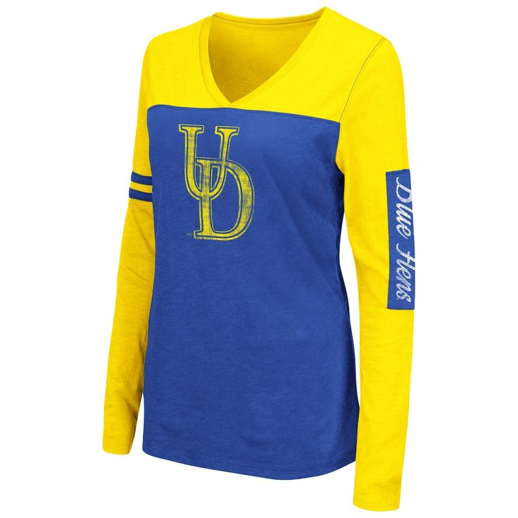 Women's Campus Heritage Delaware Blue Hens Distressed Graphic Tee, Size: Medium (Navy)
