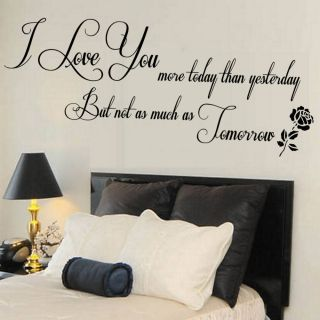 wall stickers for living room | LOVE YOU QUOTE WALL STICKER LIVING ROOM MURAL BEDROOM GIFT LARGE