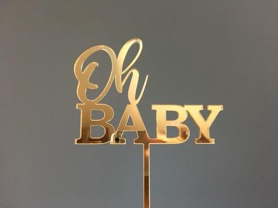 Baby Girl Cake Topper Acrylic Script Rose Gold Mirror Baby Shower Gender Reveal