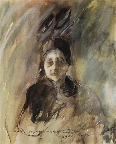 Mother of the artist - Martiros Saryan - Expressionism, 1904