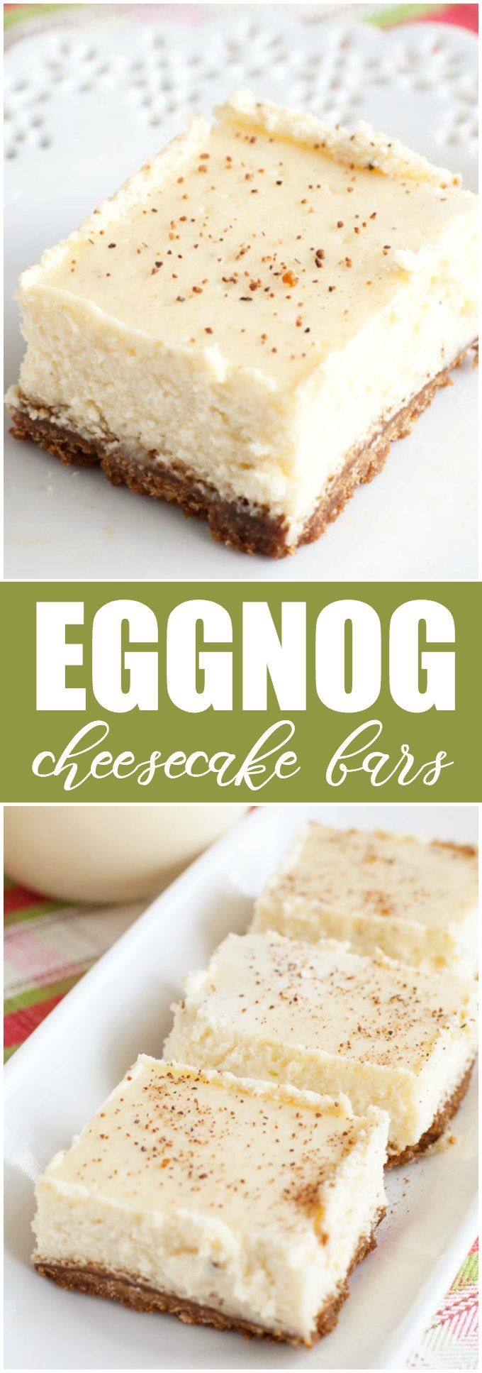 Eggnog Cheesecake Bars - Creamy rich eggnog cheesecake with a spicy gingersnap cookie crust.