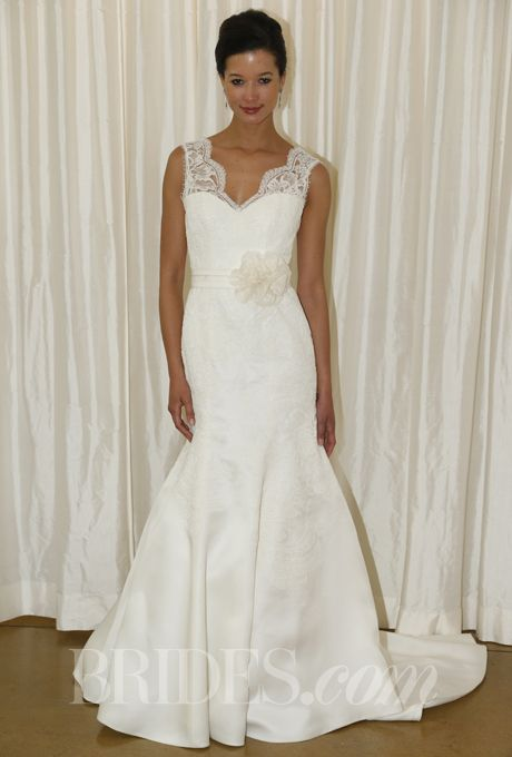 Brides.com: Judd Waddell - Fall 2013. Lace mermaid wedding dress with sweetheart neckline and sheer lace v-neck staps, Judd Waddell