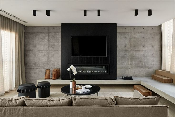 Colour palette, fireplace with bench seating return