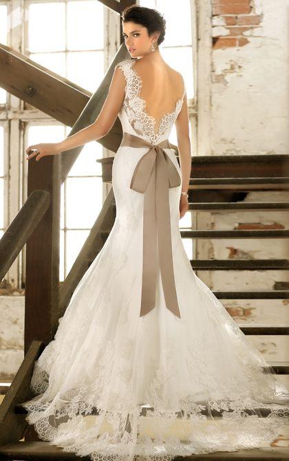 Sexy low back wedding dress by Essense of Australia. (Style D1367)