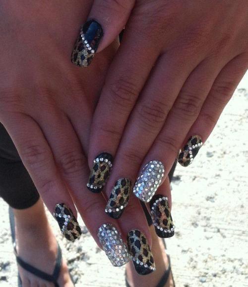 jersylicious leopard zebra bling acrylic nails