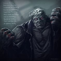 Solomon Grundy poem was a Mother Goose nursery rhyme.   The villain's name was originally Cyrus Gold.  He was shot and became the zombie Solomon Grundy.