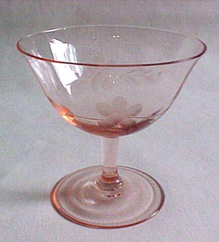 vintage depression glass | Pink Etched Depression Glassware #1