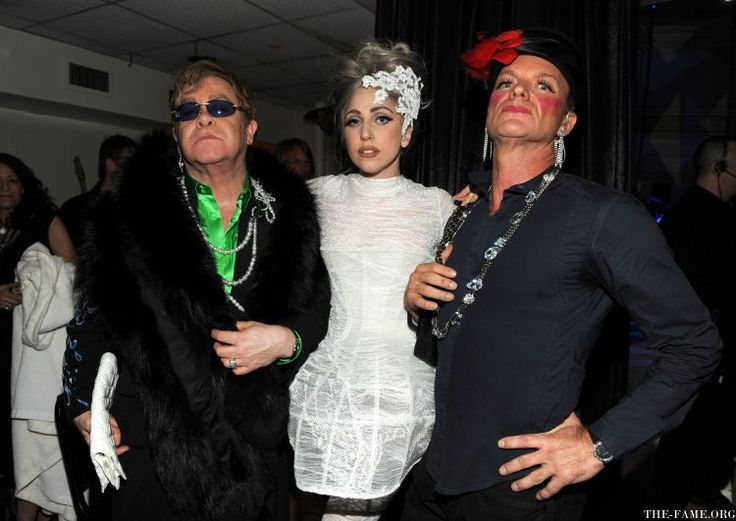 Elton John, Lady Gaga and Sting backstage during the Almay concert to celebrate the Rainforest Fund's 21st birthday at Carnegie Hall on May 13, 2010 in New York City.21St Birthday