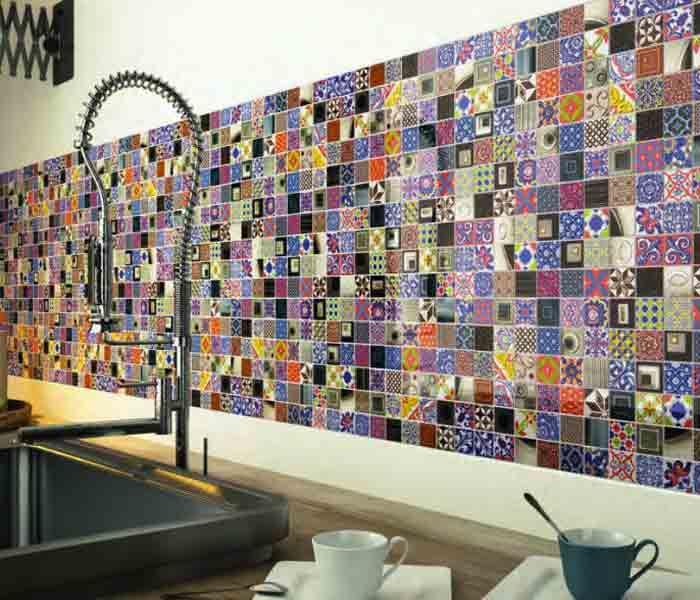 Sur un mur de #cuisine, les carreaux de ciment composent de magnifiques #crédences !
