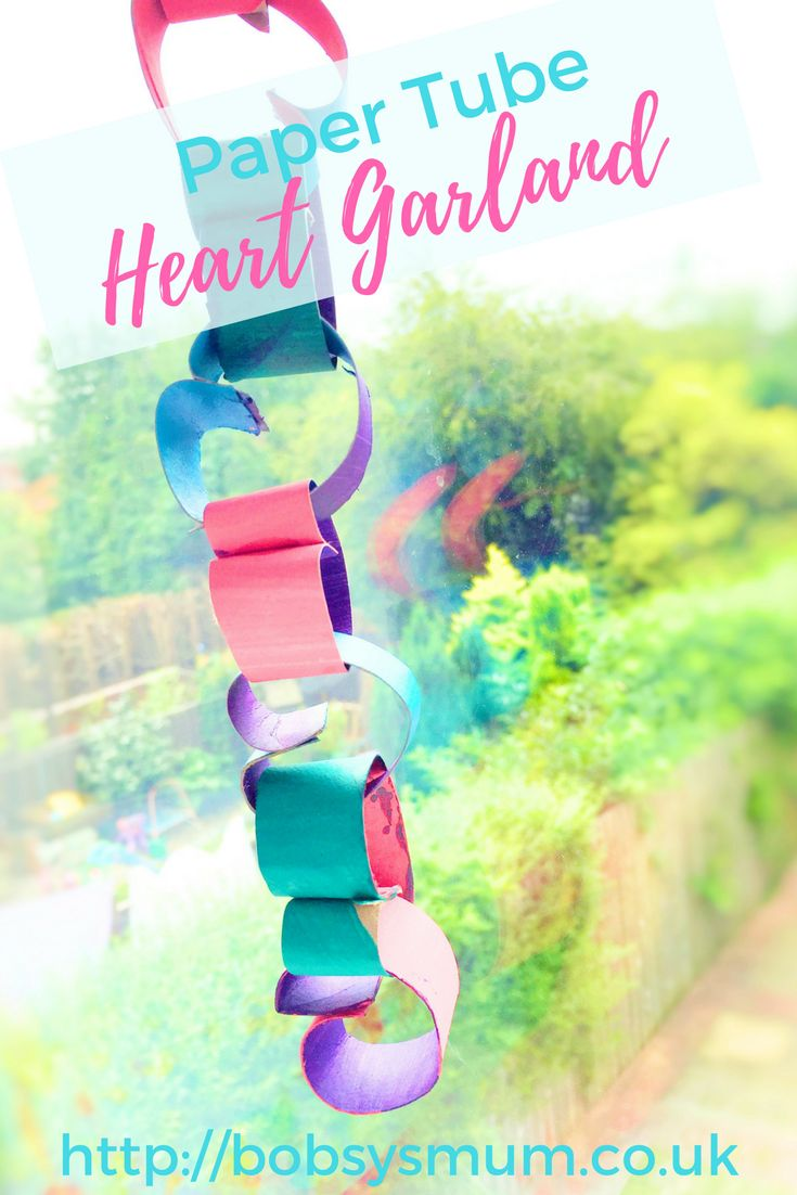 We recently made a cute and colourful toilet roll tube heart garland. We're useless and ours is pretty so, anyone can do it!