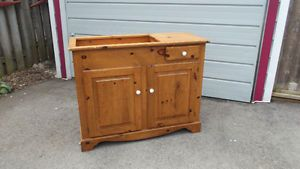Solid Pine Wood Dry Sink Cabinet Antique Farmhouse Style