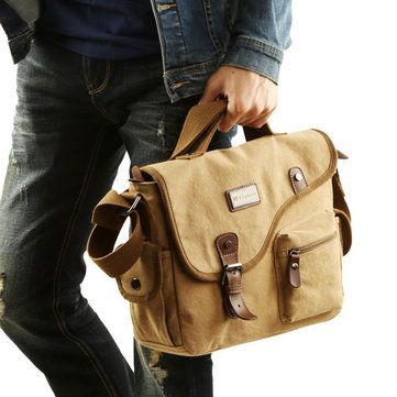 Men Canvas Casual Big Khaki Black Outdoor Shoulder Crossbody Bag Handbag - US$36.45