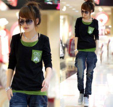 Amazon.co.jp: 【KURIJYUA】クリジュア 長袖 フェイクレイヤード Tシャツ 3L ブラック 3L: 服&ファッション小物
