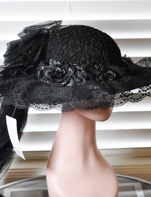 Victorian Edwardian Old West Touring Riding Hat with a Long Train - Black