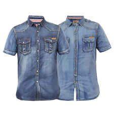 Mens Denim Shirt Tokyo Laundry Vintage Short Sleeved Collared Cotton Summer New