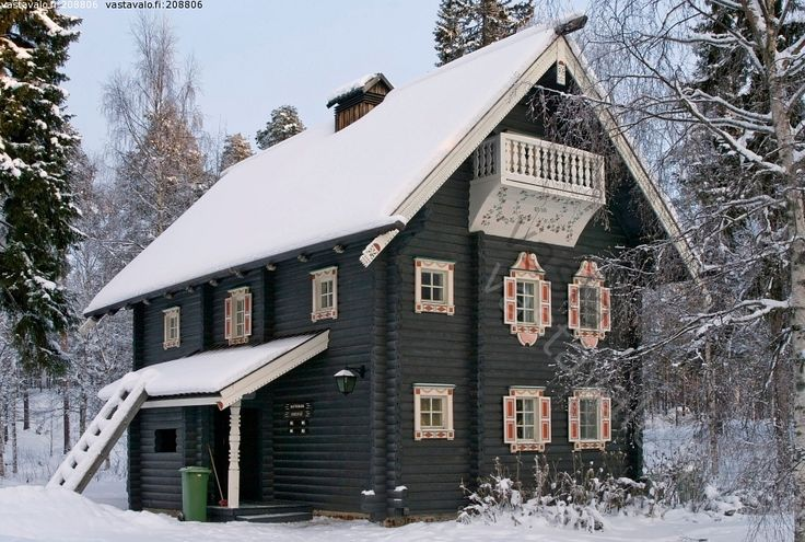 Old historic house - tradition of the Karelian  - building  logs timber building construction .Finland