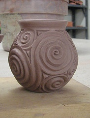 small vase, earthenware, thrown, carved, altered greenware....check back later to see the glazed and fired version