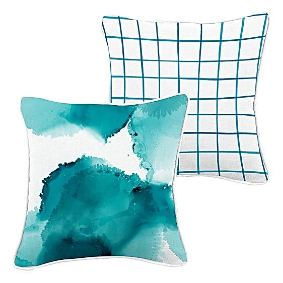 Drench your décor in cool colour with the cosy cotton feel of the designer Aqua Splash Cushion from Urban Road.
