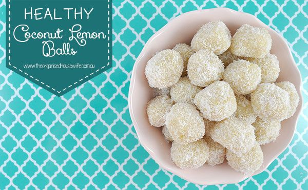 Healthy Coconut Lemon Balls. Swap out honey for something else, but otherwise okish.