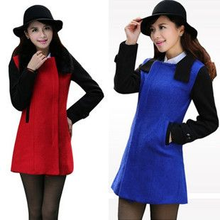 Find More Wool & Blends Information about Best Seller 2014 Winter Medium long Woolen Outerwear Fur Collar Cashmere Overcoat  Red & Blue Color Cheap Clothing Overcoat,High Quality Wool & Blends from Tina Fashion Woman Clothing Store on Aliexpress.com
