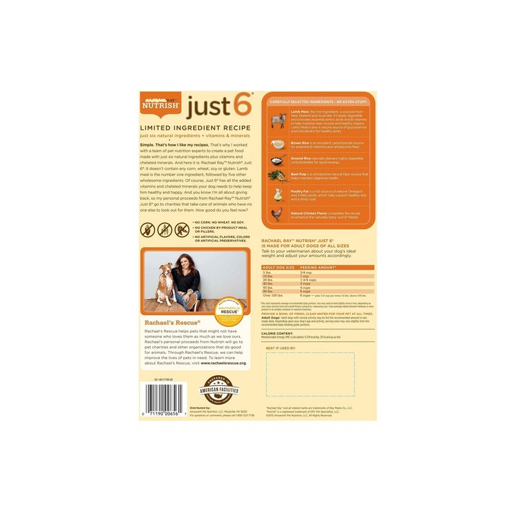 Rachael Ray Nutrish Just 6 Limited Ingredient Lamb Meal and Brown Rice Recipe Dry Dog Food - 14lb bag