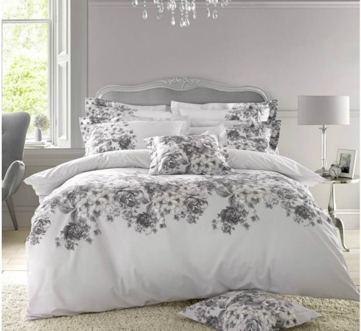 """The latest designs from the Holly Willoughby bedding collection for Spring Summer 2017.  This """"Chloe"""" white & grey floral bedding design is just SO SO gorgeous, it is sure to be a hit!!"""