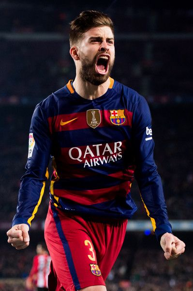 Gerard Pique of FC Barcelona celebrates after scoring his team's second goal during the Copa del Rey Quarter Final Second Leg between FC Barcelona and Athletic Club at Camp Nou stadium on January 27, 2016 in Barcelona
