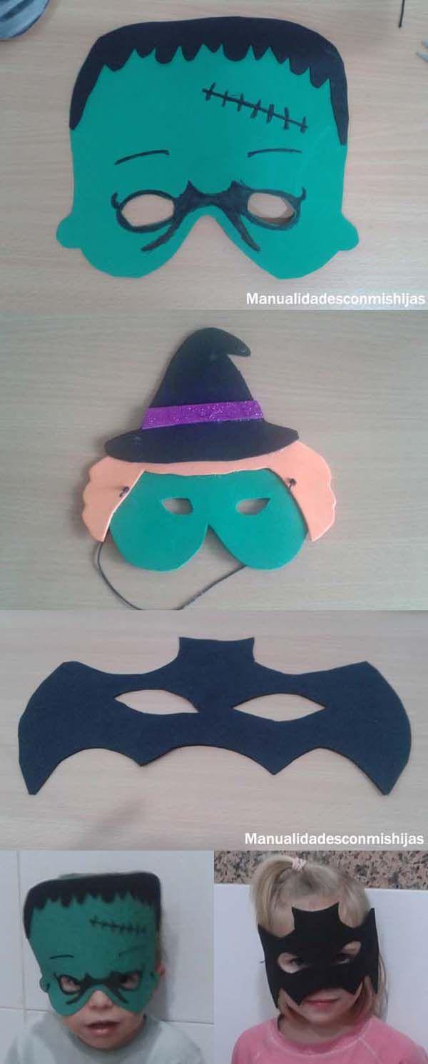 Manualidadesconmishijas:mMáscaras de goma eva para halloween (Frankestein, bruja, murciélago)