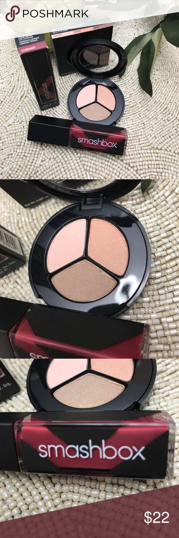 """Smashbox eyeshadow and lip lacquer bundle Brand new and 100% authentic • never used • eyeshadow trio and long wear lip lacquer in the shade """" currant"""" Sephora Makeup"""