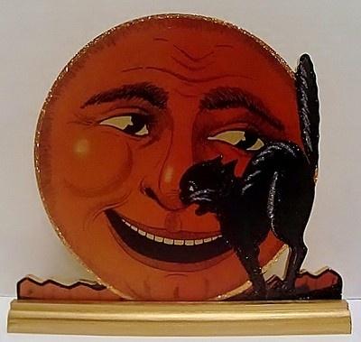 GRINNING PUMPKIN MOON w/ BLACK CAT~ HALLOWEEN Decoration ~ Vintage Image