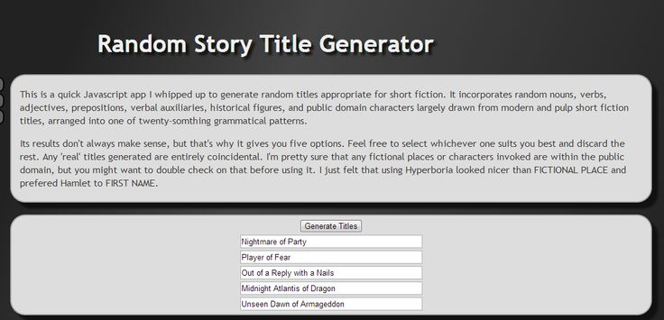 creative writing plot generator (story) concept idea generator this generator will give you 10 random ideas or writing prompts ideas which are mostly directed at short stories and creative writing, but they could work just as well for other art projects or they might spark an idea for something different entirely there are about 80,000 possible combinations.