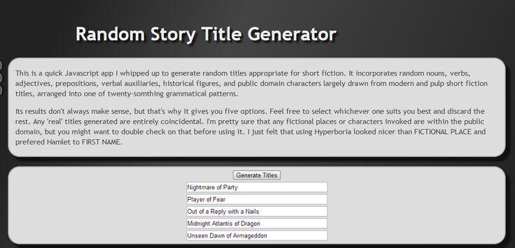 Random Story Title Generator