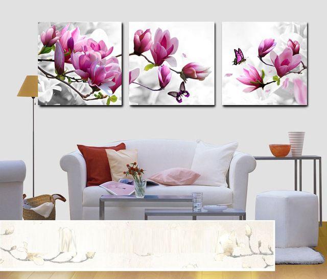 Pintura de la lona By números Poster pared sin marco fotos de decoración de estilo mediterráneo para sala de estar con el modelo de flor A5