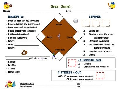 Great Game! Baseball Field Personalized Behavior Modification Chart from Mrs Lane on TeachersNotebook.com (3 pages)