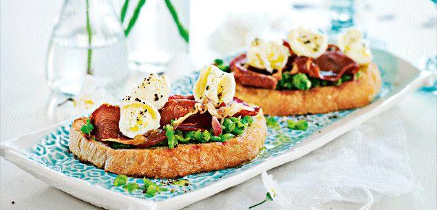 Recipe - Smashed pea and crispy prosciutto brushetta - Entertaining - Food & recipes - Recipes - New Zealand Woman's Weekly