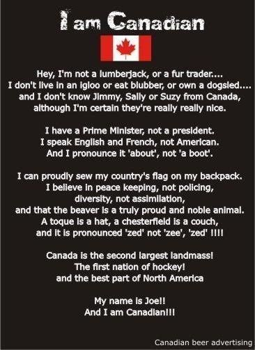 Proud to be Canadian! from the Molson Canadian rant
