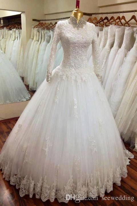 2015 Muslim Wedding Dresses Beaded High Collar Lace Appliques Long Sleeve Arabic Wedding Gowns White Ball Gown Wedding Dress Middle East Online with $206.39/Piece on Seewedding's Store | DHgate.com