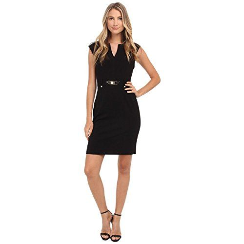 (カルバンクライン) Calvin Klein レディース トップス ワンピース Shift Dress w/ Gold Hardware 並行輸入品  新品【取り寄せ商品のため、お届けまでに2週間前後かかります。】 表示サイズ表はすべて【参考サイズ】です。ご不明点はお問合せ下さい。 カラー:Black