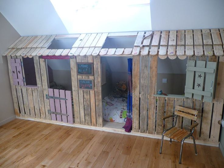 We noticed this beautiful creation with pallets, made by a french crafter &qout;Les chines et patines de Ketty&qout;. She found an ideal way to integrate the beds of her daughters in the attic of the room to create a cozy place , hut -shaped. No doubt the kids will enjoy these spaces !…
