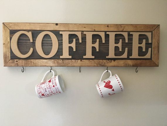 Rustic Coffee sign with hooks to hang mugs by NonDesperatHouseWife