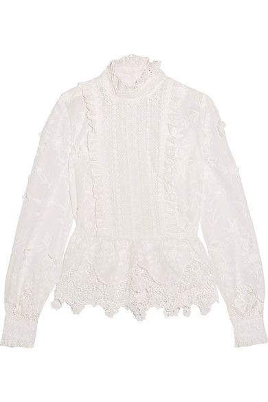 Anna Sui - Daisy Fields Silk-blend And Broderie Anglaise Cotton Blouse - White - US10