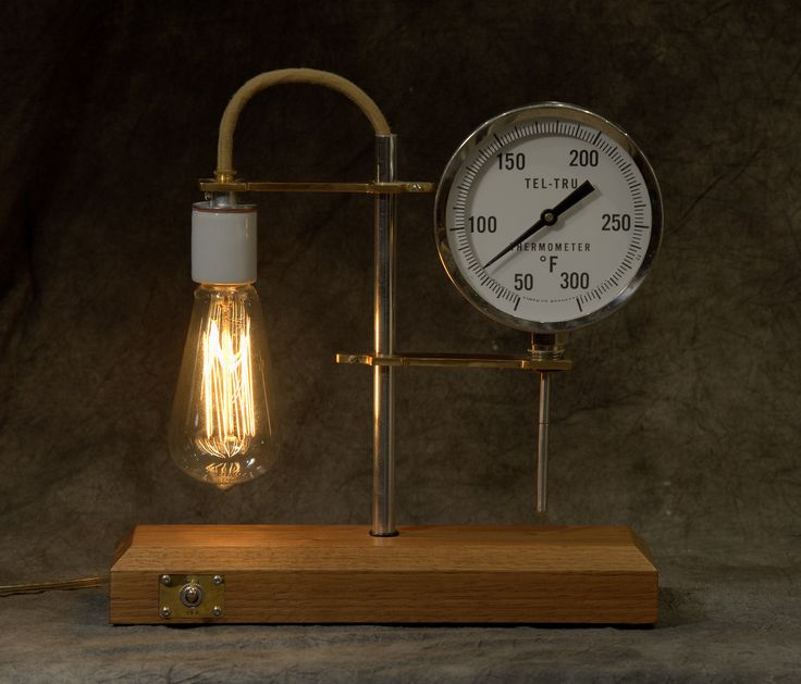 This is a combination of new and old.  Alex Barrie machined the brass fittings and Scott Barrie polished aluminum tubes and created a wooden base.  The working thermometer is old, but the lamp bulb is new.  I LOVE it.
