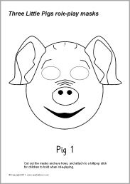 Three Little Pigs Role Play Masks Black And White Sb9663 Sparklebox The Pig Mask