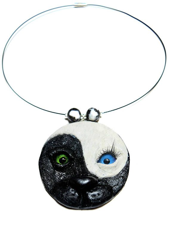 Christmas gift, Ying Yang Cat necklace, Ying Yang necklace, Cat face pendant, Tai Chi necklace, Yoga jewelry, Balance necklace, Polymer clay #cat #catpendant #yingyang #taichi #yoga #yingyangjewelry #balance #catlover #kitty #Christmasgift #unisex #unisexpendant #spiritual