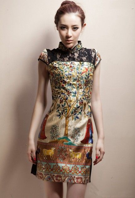 Silk Mandarin Collar Cheongsam / Qipao / Chinese Dress