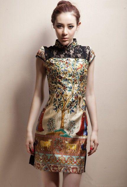 Silk Mandarin Collar Cheongsam / Qipao / Chinese Dress