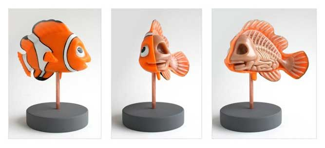 Images above: Nemo Fish Character Design / Ducky Skeleton Sculpture.     Character Designer Jason Freeny