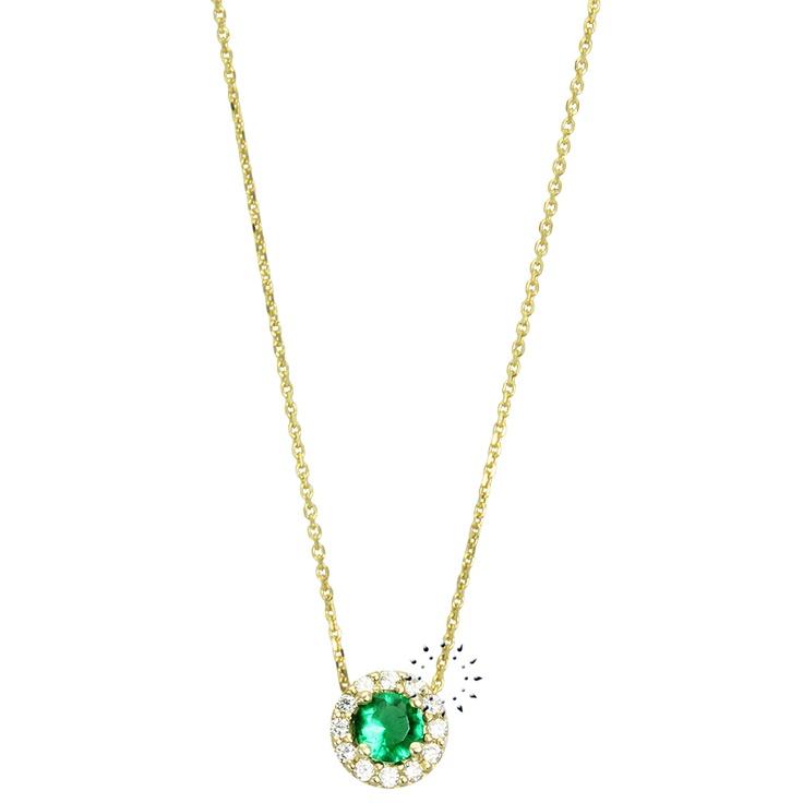 Κολιέ 14Κ Χρυσό με Ζιργκόν και Ρίζα Σμαραγδιού Candy  157€  http://www.kosmima.gr/product_info.php?products_id=16764