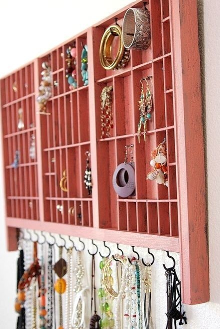 Master Bath: DIY wall unit made from a vintage typeset tray. Awesome. | Spark | eHow.com